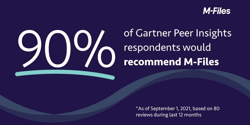 M-Files Recommended by 90 Percent of Gartner Peer Insights Respondents